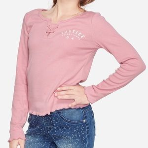 NWT Justice Ribbed Lace Up Long Sleeve Shirt Top 7